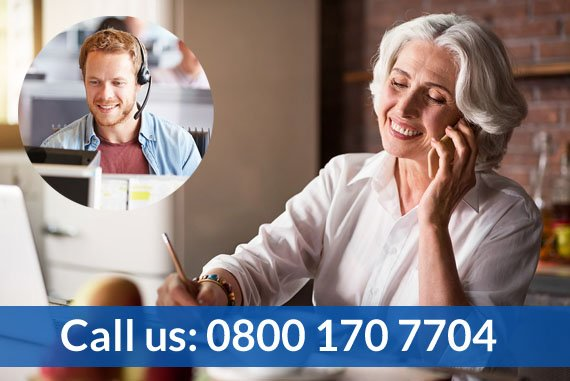 Free Spirit – Elderly woman calling travel insurance support, telephone number 0800 170 7704