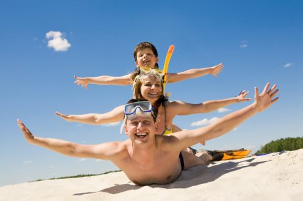 Dad and kids on holiday