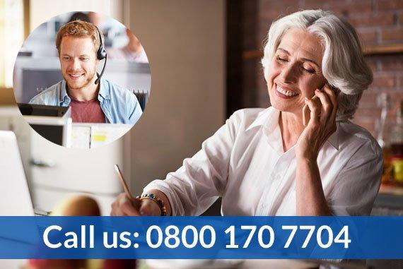 Free Spirit – Elderly woman calling travel insurance support, telephone number 0800 170 7704