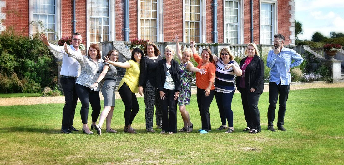 The Free Spirit Team having fun in front of our offices at Stanstead House!