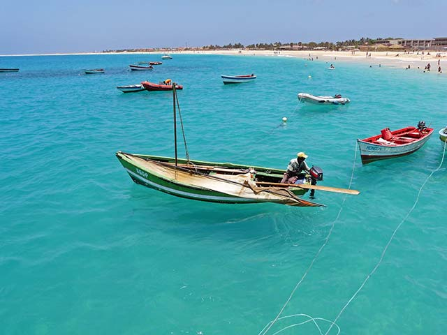 Cape Verde beach and fishing boats
