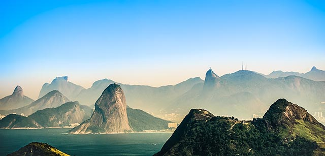 Rio de Janeiro picture of mountains from the sea