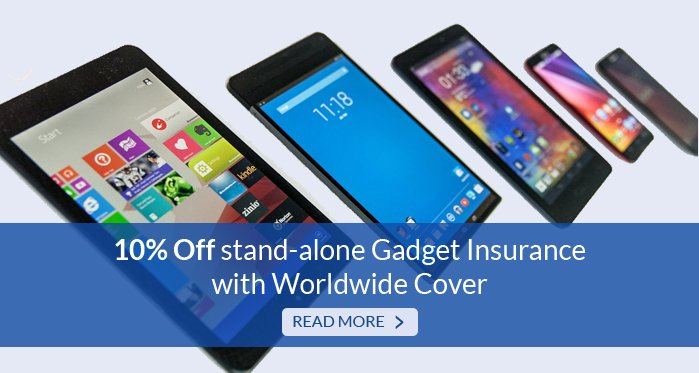 10% Off stand-alone gadget insurance with worldwide cover