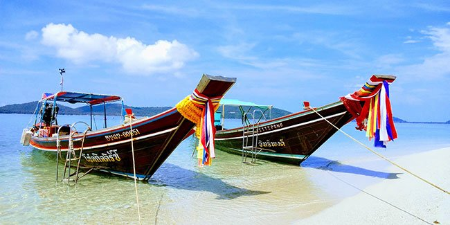 Boats on a beach in Koh Samui