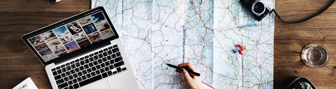 planning travel with a map