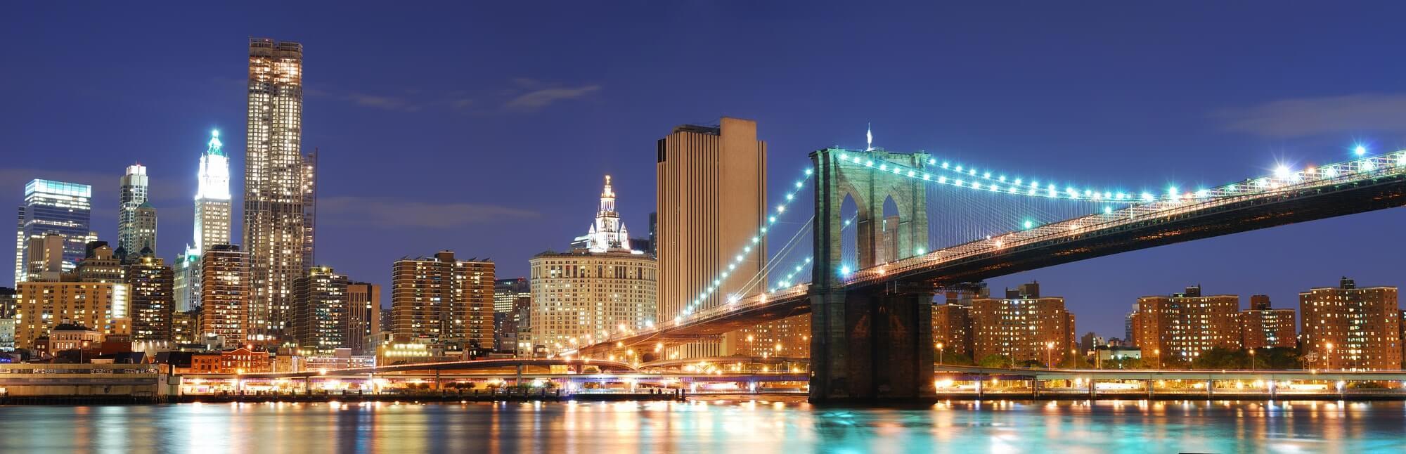 New York skyline lights night