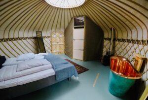 Unusual staycation ideas - inside a yurt