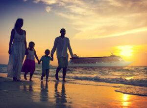 Family Children Beach Cruise Ship Relaxation Concept